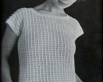 No.638 Women's Crochet Pattern PDF - Vintage Picot Lace Blouse - Short Sleeve Pullover Sweater T-Shirt Top 1960's Retro Boho Crochet Pattern