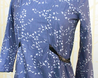 Bungalow Dress, choose your size, in blue organic cotton and hand printed bamboo
