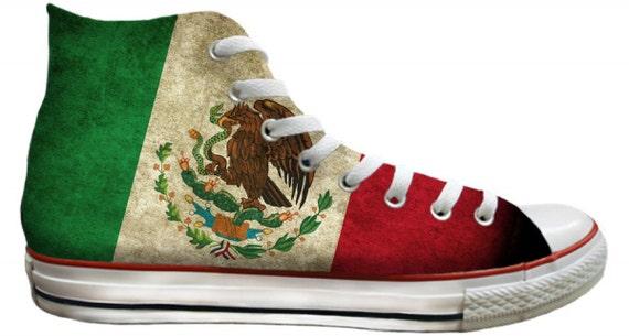Mens Ladies Viva Mexico Flag pride distressed Custom Print High Top Converse w/ Swarovski Crystal Rhinestones Chuck Taylor All Star Shoes