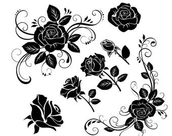 Rose svg,Flower svg,Cuttable Design Files (svg,dxf,eps,dxf ) For Silhouette Studio,Cricut Design Space , Instant Download , Cutting Machines