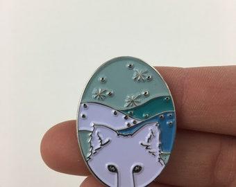 Winter Fox Enamel Pin - Kickstarter Four Seasons of Fox Pins