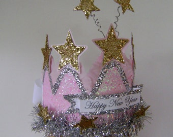 HAPPY NEW YEAR crown - hat Or customize with any saying- adult or child