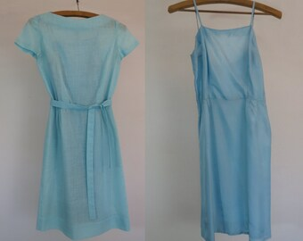 Vintage Blue Dress  - Aqua Boat Necked Dress and Slip - 1960s Vintage - Bust 81 cm