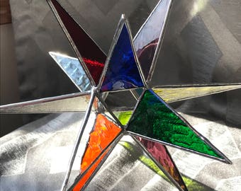 """8 1/2"""" Stained glass multi-color Moravian Star with silver finish"""