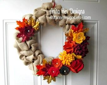 Fall Burlap Wreath, Fall Leaf Wreath, Autumn Weath, Burlap Ruffle Wreath, Burlap Bubble Wreath