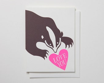 Badger with Love You message - Pink and brownValentines card