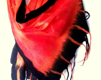 CUSTOM ORDER Nuno Felted Scarf With Fringes, Pumpkin Orange Black, Silk Merino Wool Wrap