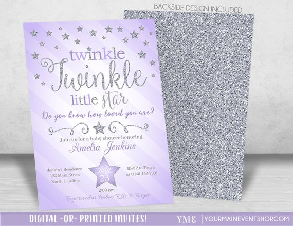 Purple silver twinkle twinkle little star baby shower like this item filmwisefo Choice Image