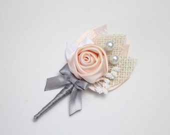 Light Peach Gray Rosette Boutonniere/ Rustic Boutonniere/Country Wedding Lapel Pin/ Handmade Wedding Accessory
