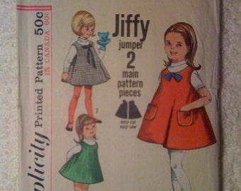Simplicity 60s Sewing Pattern 5159 Childrens One Piece Jiffy Jumper Size 6