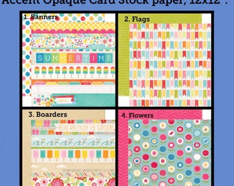 Blow Out Sale! Summertime, Popsicles, Flowers, Polka Dots, Boarders, Double Sided 12x12 Card Stock Paper, by Echo Park