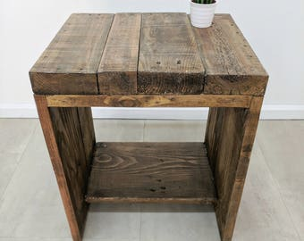 Characterful Reclaimed Bedside Table LAUAKE , Hand made Boho Side Table Nightstand, End Table, Plant Stand