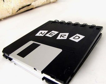 Original Nerd Recycled Blank Floppy Disk Mini Notebook in Black