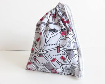 London Print Small Drawstring Bag