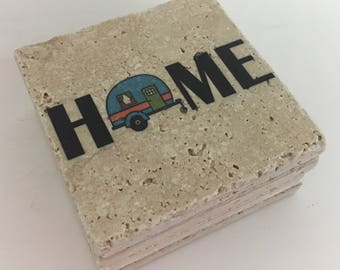 Camping Coasters HOME with Camper Natural Stone Coasters Set of 4 Perfect For Camper Blue