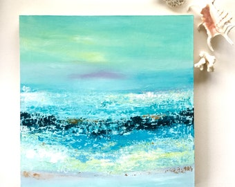Ocean painting, abstract seascape, acrylic painting, original art, FREE SHIPPING