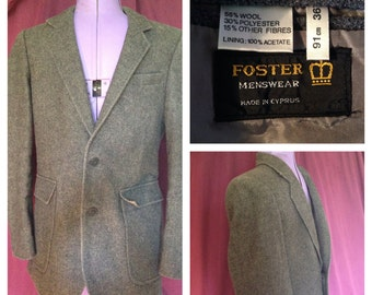80's Foster Menswear wool mix tailored single breasted jacket grey small (uk)