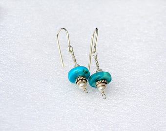 Handmade Silver Turquoise Earrings with Pearls Silver Earrings Silver Jewelry Teal Turquoise Earrings Free Shipping from Israel