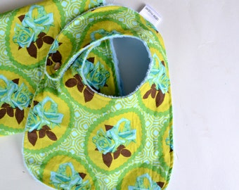 Baby Girl Shower Gift Set Bib and Burp Cloth Garden Party Blue Roses with Minky