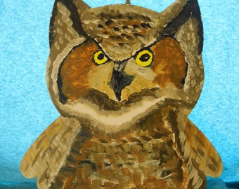 Hand painted wooden Owl - Priority Shipping! MORE Owls in shoppe!
