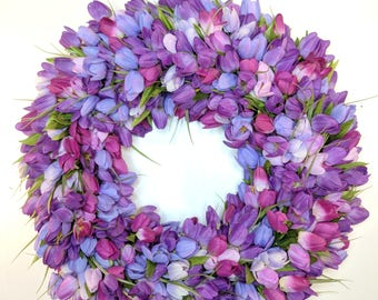 Tulip Wreath, Spring Wreath, Purple Wreath, Summer Wreath, Front Door Wreath, tuilp wreath, purple, tulips, Mother's Day Wreath