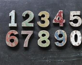 Distressed wood number