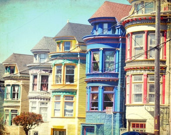 "San Francisco wall art print photograph colorful rainbow wall art houses windows architecture art ""Colorful Houses"""