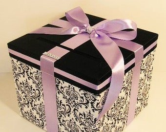 Wedding  Card Box Damask and Lavender Gift Card Box Money Box Holder-Customize/made to order (10x10x9)