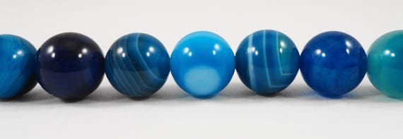 "Blue Striped Agate Beads, 10mm Round Stone Beads, Dyed Blue Gemstone Beads, 10mm Agate Gemstone Beads on a 7 1/2"" Strand with 19 Beads"