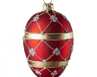 Red Adorned Oval Blown Ornament
