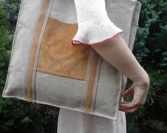 Linen bag, bag of linen and leather, linen bag