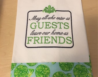 Cotton embroidered kitchen towel