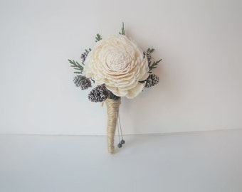 Frosted Pinecone and Cedar Boutonniere - Winter Boutonniere - Rustic Boutonniere - Pine cone Boutonniere - Woodland Boutonniere