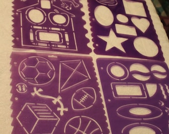 Free Shipping!  4 Stencil Sheets - Scrapbooking & Card Making - Kite, Soccer Ball, Basketball, Football, Bat, Ovals, Waves, Schoolhouse -RJ