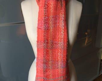 Saori Handwoven Scarf, Freeform Handwoven Scarf, Handwoven & Handspun Scarf