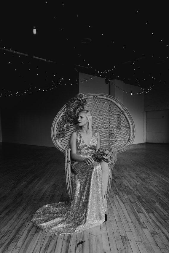 Floor Model - Ready to Ship! Bridesmaid Dress, Pludge Neckline, Open Back, Full Length, Slitted, Mermaid, Train, Prom dress