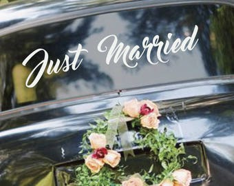 JUST MARRIED Removable Vinyl Wedding Car Decal Sticker