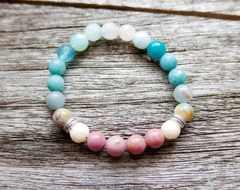 Rhodonite bracelet, Love Bracelet, amazonite Gemstone Mala Bracelet | Ajai Alai Mantra bracelet | Love amulet women gift yoga jewelry reiki