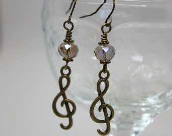 Bronze Musical Treble Clef Earrings - Band Jewelry, Music Jewelry, Music Lover Gift, Musician Gift, Gift for Music Teacher, Music Earrings
