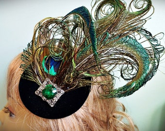 Green Velvet Peacock Feather Emerald Fascinator