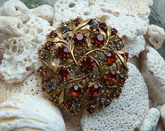 Stunning Vintage FLORENZA Medallion Brooch-Amber & Smoky Rhinestones-Can be used as a pendant