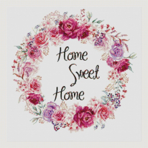 Cross stitch pattern modern.customized with alphabet,home sweet home ...