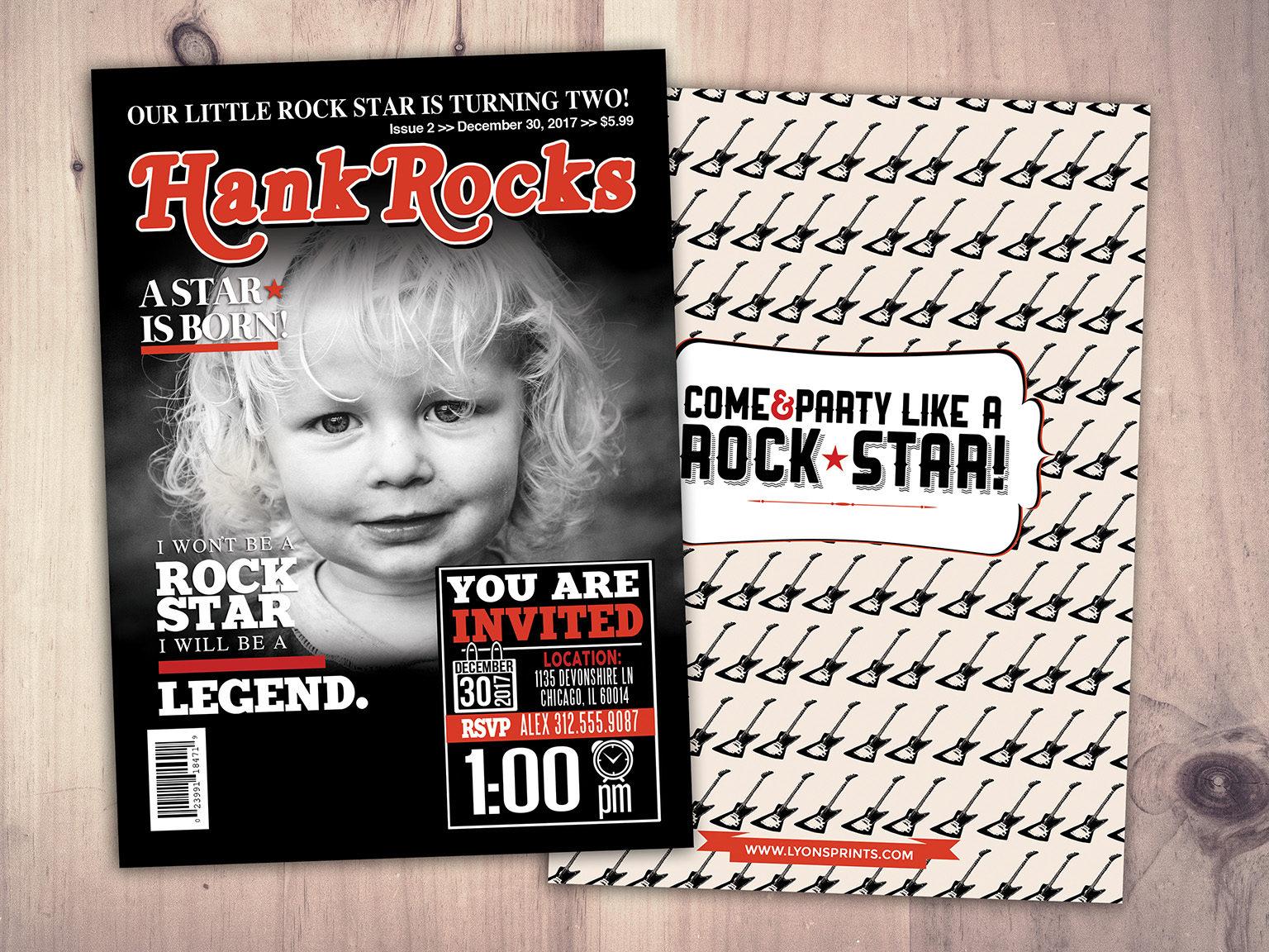 Rock Star magazine theme birthday invitation, boy birthday, rockstar ...