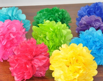 6 tissue poms {bright fiesta}