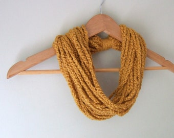 Organic Chain Scarf Necklace / Organic Cotton Clothing / Cotton Scarf / Burnt Orange Scarf / Mustard Scarf