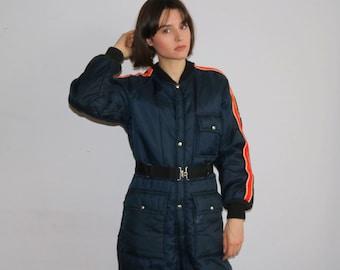 VINTAGE SKI SUIT, 80s 90s ski suit, one piece, jumpsuit retro onesie snowboard snow gear skiing costume puffy winter, xs small