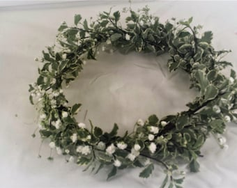 Wedding crown, Boho Wedding, Flower Crown, Babies Breath, italian pitt, Flower headpiece