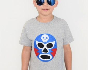 Kids T-shirt - Luchador Azul - Blue Mexican Wrestler - Lucha Libre - Kids Gift