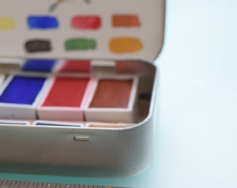 Handmade Watercolor paint Starter Travel Charm Kit with Tin and Waterbrush - Includes 4 whole pans and 4 I/2 pans