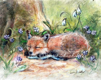 "Fox, animal, woodland, animal decor,Flat archival canvas print of original, Nursery Choose size ""Sleepy Fox and Flowers"" Laurie Shanholtzer"